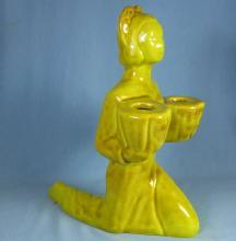 California Pottery ORIENTAL LADY Double Candleholder - Vintage Pottery