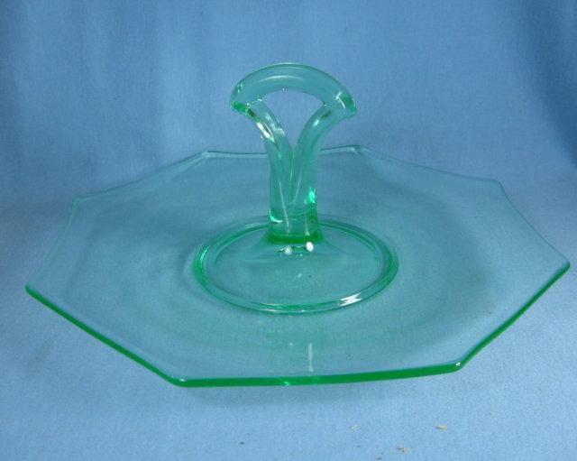 Vaseline Handled Torte Plate - Elegant Gree Glass