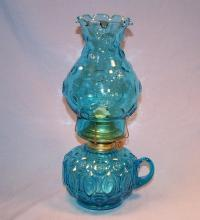 Blue Moon & Stars Glass Oil Lamp