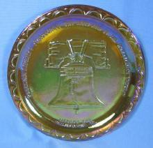 Amber Carnival Glass LIBERTY BELL Plate