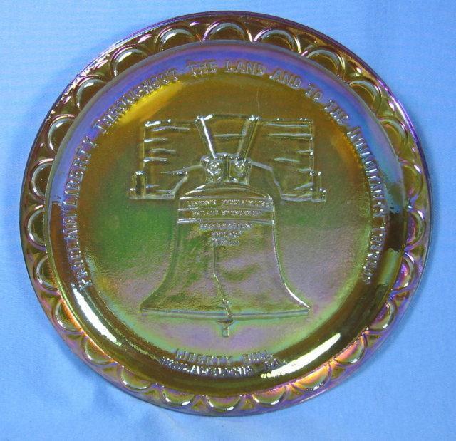 Amber Carnival Glass LIBERTY BELL Plate