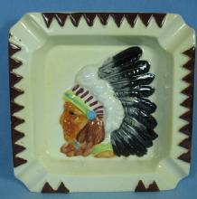 INDIAN CHIEF Ashtray - Vintage Pottery Tobacianna