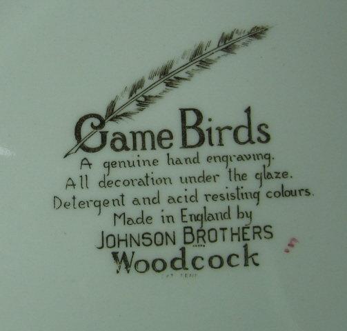 WOODCOCK - Johnson Bros Game Bird Plate - Vintage