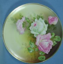 Hand Painted Turin Porcelain ROSES Plate