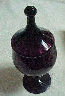 Amethyst Pedestal Jar with Lid - Glass