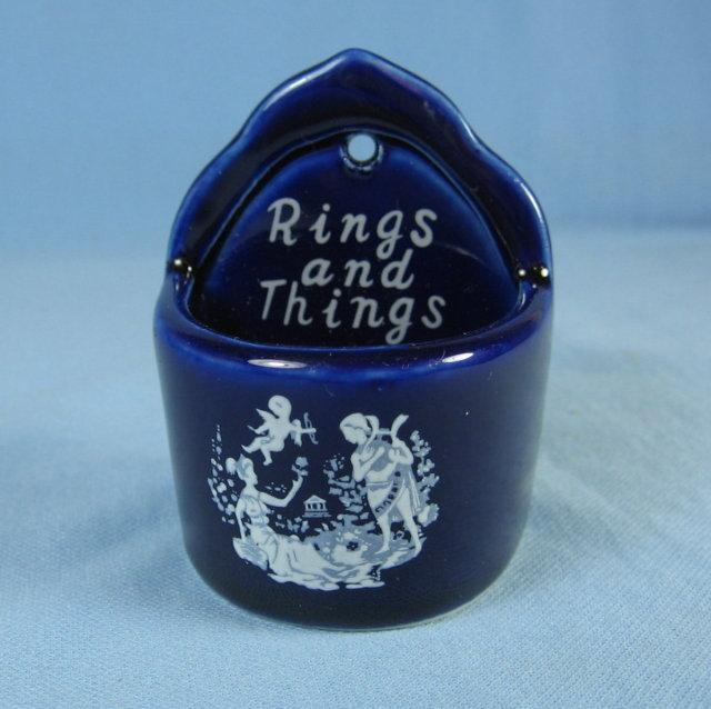 Ring or Tricket Wall Pocket - Vintage Porcelain