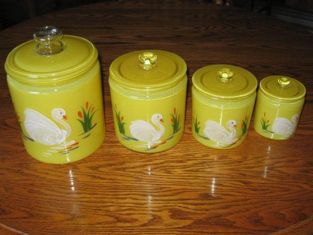 SWAN 4pc Canister Set ~ Vintage Czech Art Glass
