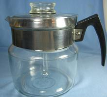 Pyrex COFFEE Pot ~ Vintage Glass & Retro Chrome  PERCOLATOR