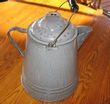 HUGE Graniteware Coffee Kettle - Boiler Pot - Antique metalware