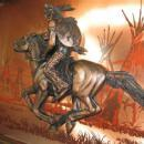 INDIAN  WARRIOR on HORSE - Bronze & Copper 3-D Plaque - misc fal