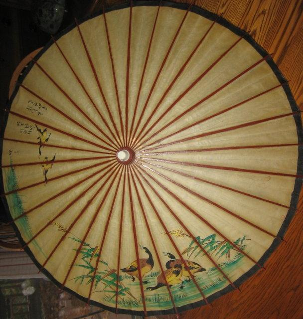 Antique Japanese PARASOL - Oriental Rice Paper and Bamboo Ethnographic Collectible