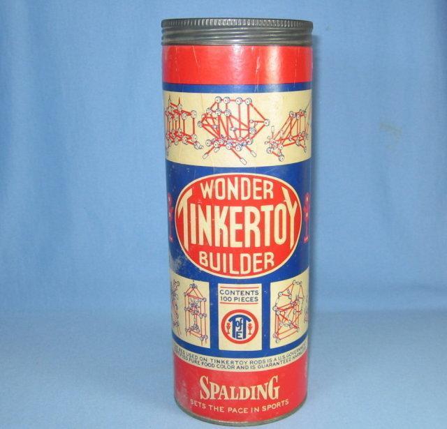 TinkerToy Wonder Builder Game ~ Antique Spalding Antique Toy