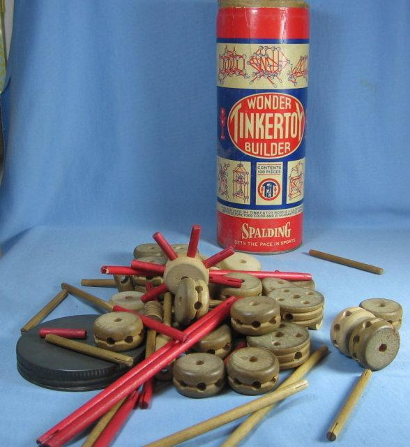 TinkerToy Wonder Builder Game ~ Antique Spalding Antique Toy