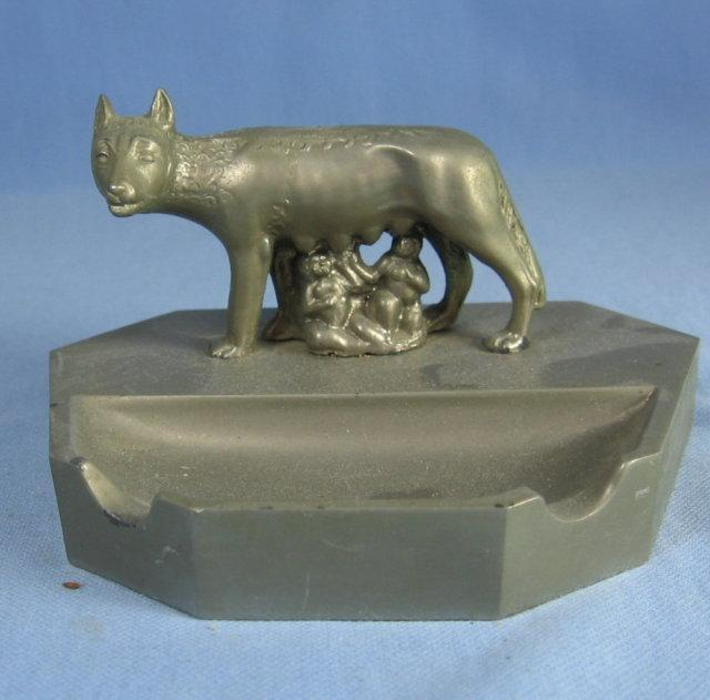 Romulus & Remus Roman Mythology SHE-WOLF Ashtray - tobaccianna