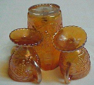 Imperial Carnival Grape Pitcher Creamer Sugar  Set - Glass