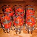 Poinsettia CHRISTMAS Set 6 drinking glasses - glass