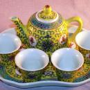 Porcelain TEAPOT Style Sake Set on Tray