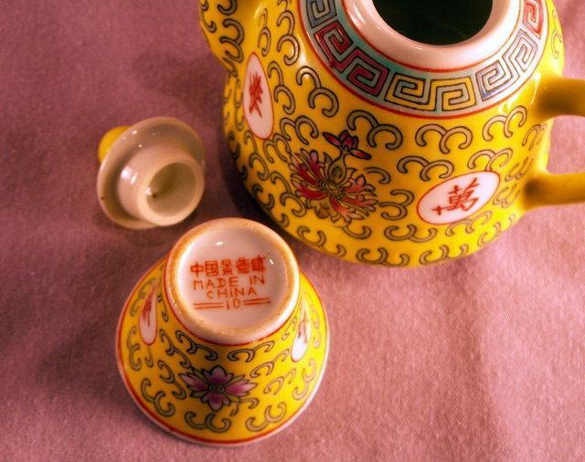 Porcelain TEAPOT Style Sake Set on Tray