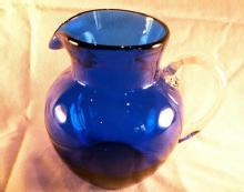 COBALT  Glass Ball Pitcher with Crystal Handle