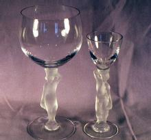 2 Pieces of Crystal Glass Nude Stemware