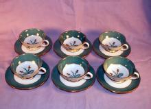 6 Sets of ROYAL BAYREUTH  J. L. Hudson Co. Demitasse Porcelain Cups & Saucers