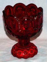 Moon & Stars Red Footed Glass Candy Bowl