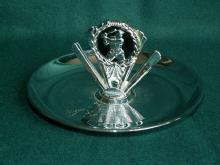 Chrome BASEBALL PLAYER Decorated Ashtray - Tobacciana