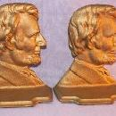 Gold Finished ABRAHAM LINCOLN Cast Iron Bookends - Metalware