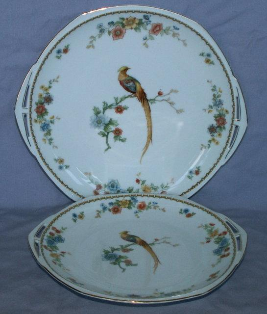 Pair of  Open Handled EXOTIC BIRD Porcelain Plates