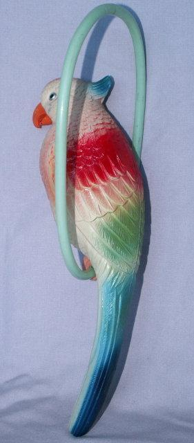 Colorful Celluloid PARROT ON PERCH - Misc.