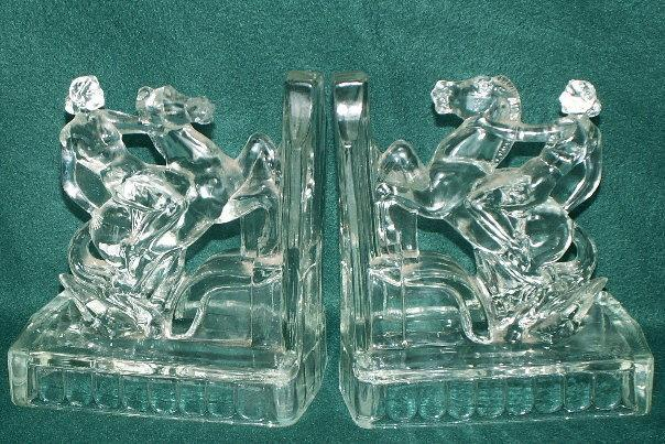 Crystal LADY GODIVA Glass Bookends