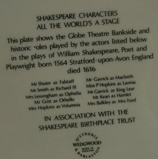 SHAKESPEARE CHARACTERS ALL THE WORLD'S A STAGE Porcelain Plate