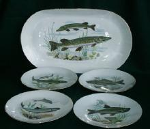 Five Piece Porcelain FISH Serving Set