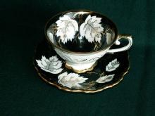 U.S. Zone German Porcelain Black/Gold Cup and Saucer Set