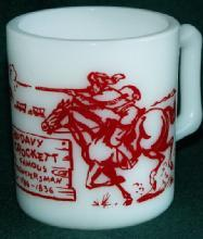 DAVY CROCKETT Red Printed Milk Glass Mug