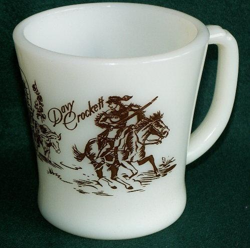 DAVY CROCKETT Red Printed Milk Glass Mug