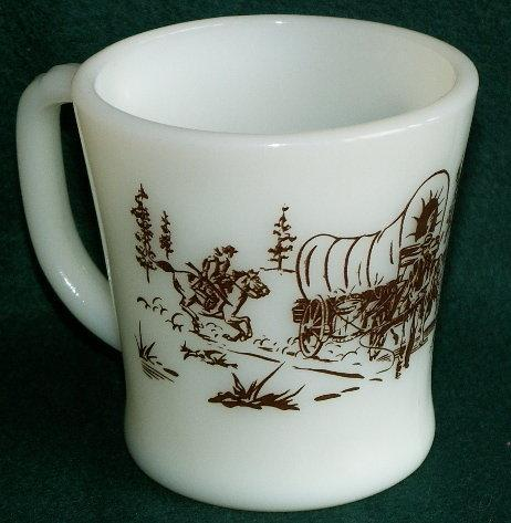 DAVY CROCKETT Brown Printed Milk Glass Mug