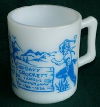 DAVY CROCKETT Blue Printed Milk Glass Mug