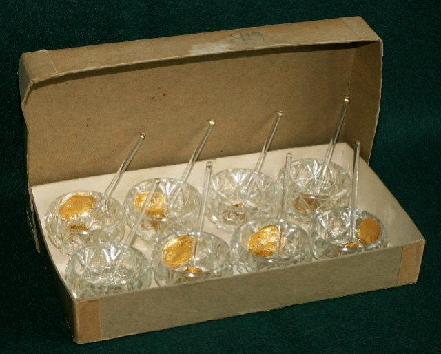 Set of 8 Pressed Glass Salts and Spoons in Original Box
