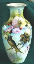 Beautiful Noritake BARN SWALLOW Porcelain Hand Painted  Vase