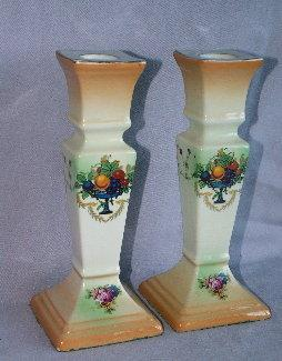 Set of English Fruit Bowl Designed Porcelain Candlesticks