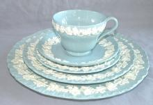 Five Piece WEDGWOOD Porcelain Blue Queen's Ware Dinnerware Setting