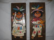 Hand chiseled and painted wall plaques