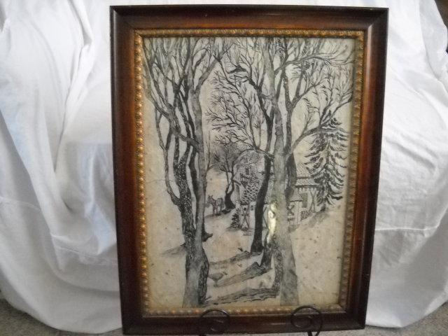 Ink drawing By E.SEITZ 1/76 FOLK ART
