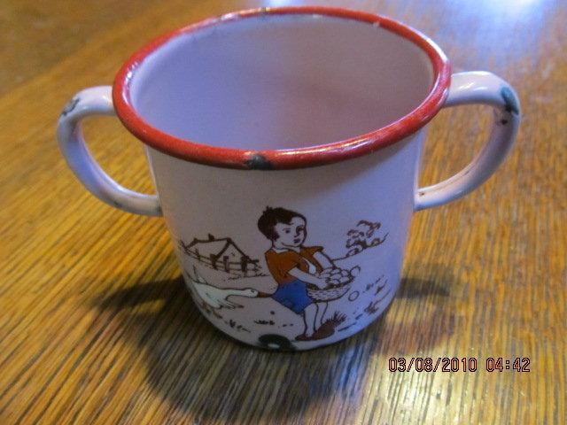 Goose + Boy Child's Enameled Cup - Fine Porcelain