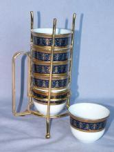 6 Tea/Sake Porcelain Cups in Gold Wire Rack