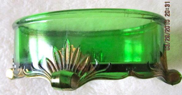 Green Glass Footed Pin Receiver - glass