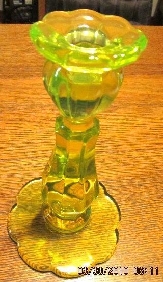 Vaseline Yellow Uranium Candlestick - Glass