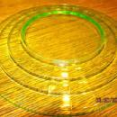 Vaseline Green Depression Plates (6) - Glass