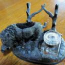 Figural Wild Boar Inkwell Ink Well - Metalware